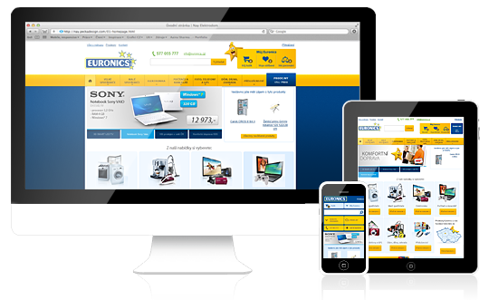 Web Euronics s adaptivním layoutem, tzv. responsive web design