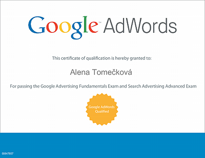Certifikát Google AdWords